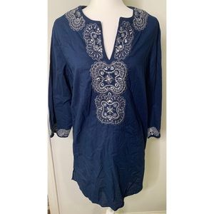 Chico's Blue Embroidered Sequin Tunic Top